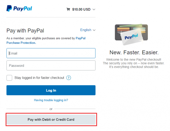 Pay Via PayPal With Credit Card